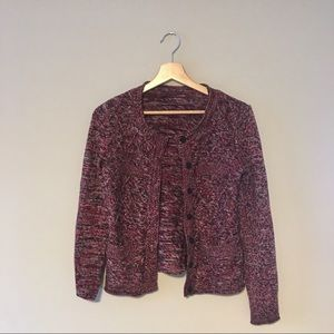 Sweaters - Maroon and black marl cardigan with pockets 🇫🇷